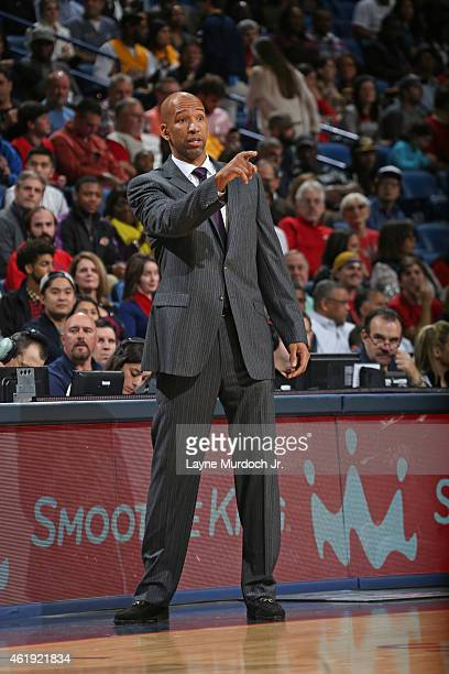 Head coach Monty Williams of the New Orleans Pelicans during the game against the Los Angeles Lakers on January 21 2015 at the Smoothie King Center...