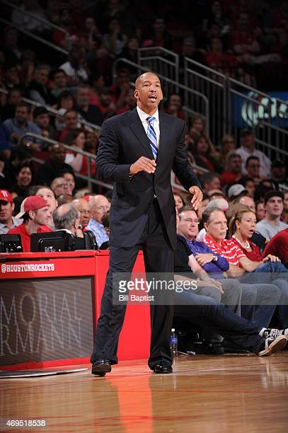 Head Coach Monty Williams of the New Orleans Pelicans during the game against the Houston Rockets on April 12 2015 at the Toyota Center in Houston...