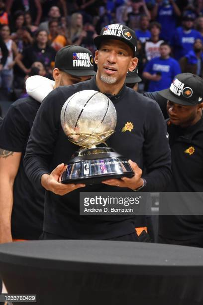 Head Coach Monty Williams of the Phoenix Suns holds the Western Conference Finals Trophy after the game against the LA Clippers during Game 6 of the...