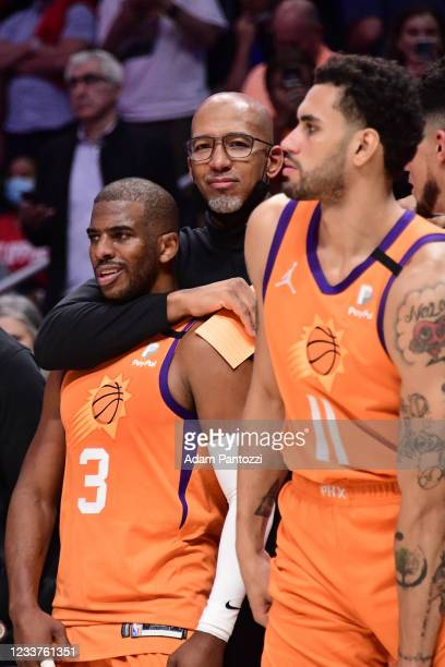 Head Coach Monty Williams of the Phoenix Suns hugs Chris Paul of the Phoenix Suns during the game against the LA Clippers during Game 6 of the...
