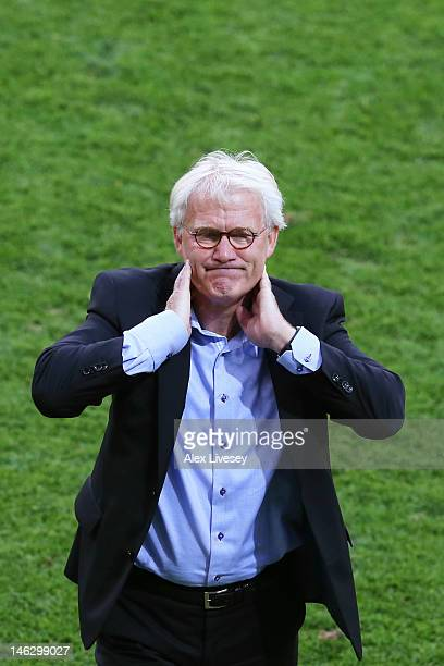 L'VIV UKRAINE JUNE 13 Head Coach Morten Olsen of Denmark reacts during the UEFA EURO 2012 group B match between Denmark and Portugal at Arena Lviv on...
