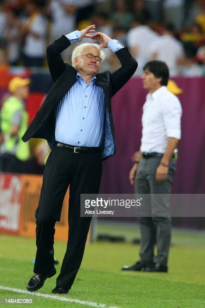 L'VIV UKRAINE JUNE 17 Head Coach Morten Olsen of Denmark shows his frustrations during the UEFA EURO 2012 group B match between Denmark and Germany...
