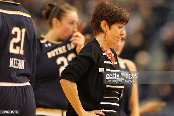 Head coach Muffet McGraw of the Notre Dame Fighting Irish during her sides dramatic loss during the the UConn Huskies Vs Notre Dame NCAA Women's...