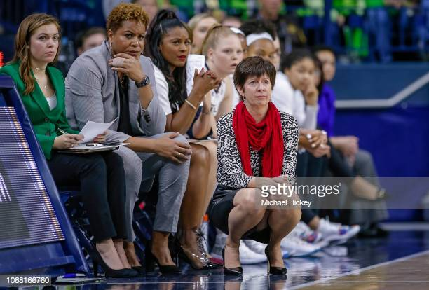 Head coach Muffet McGraw of the Notre Dame Fighting Irish is seen during the game against the Connecticut Huskies at Purcell Pavilion on December 2...