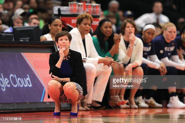 Head coach Muffet McGraw of the Notre Dame Fighting Irish looks on against the Baylor Lady Bears during the first quarter in the championship game of...