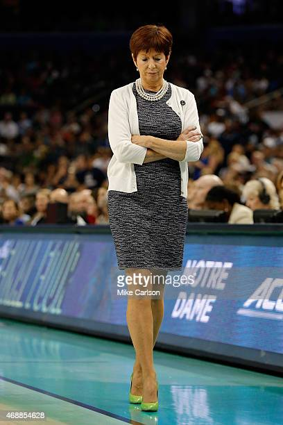Head coach Muffet McGraw of the Notre Dame Fighting Irish looks on against the Connecticut Huskies during the NCAA Women's Final Four National...