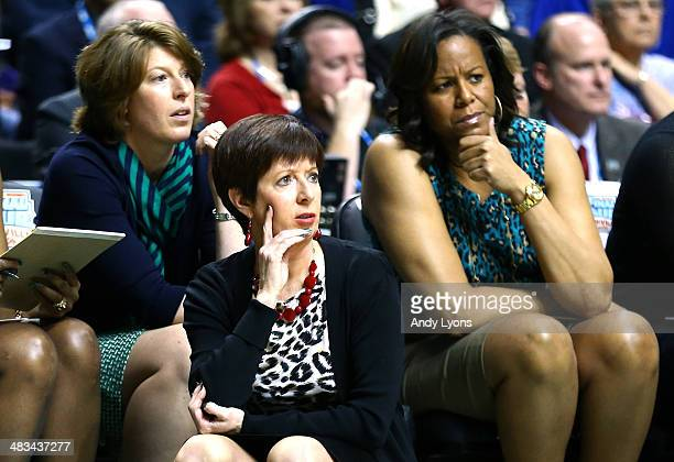head coach Muffet McGraw of the Notre Dame Fighting Irish looks on from the bench against the Connecticut Huskies during the NCAA Women's Final Four...