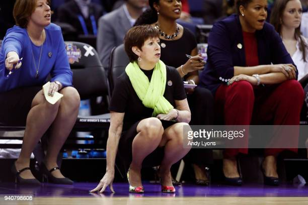 Head coach Muffet McGraw of the Notre Dame Fighting Irish looks on against the Mississippi State Lady Bulldogs during the first quarter in the...