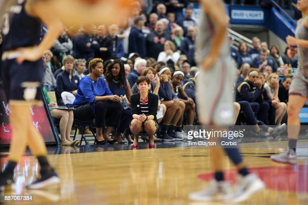 Head coach Muffet McGraw of the Notre Dame Fighting Irish on the sideline during the the UConn Huskies Vs Notre Dame NCAA Women's Basketball game at...