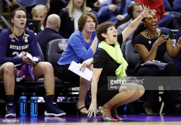 Head coach Muffet McGraw of the Notre Dame Fighting Irish reacts to her team against the Mississippi State Lady Bulldogs during the first quarter in...