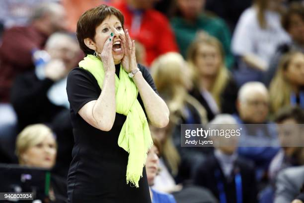 Head coach Muffet McGraw of the Notre Dame Fighting Irish reacts to her team against the Mississippi State Lady Bulldogs during the second quarter in...