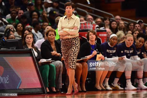 Head coach Muffet McGraw of the Notre Dame Fighting Irish watches her team against the Connecticut Huskies at Amalie Arena on April 5 2019 in Tampa...