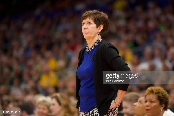 Head coach Muffet McGraw of the Notre Dame Fighting Irish watches her team against the Baylor Bears at Amalie Arena on April 7 2019 in Tampa Florida