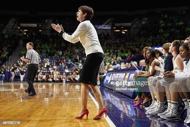 Head coach Muffet McGraw of the Notre Dame Fighting Irish watches the game against the Montana Lady Grizzlies during the first round of the NCAA...