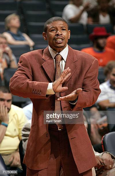 Head Coach Muggsy Bogues of the Charlotte Sting gestures during the game against the Connecticut Sun on June 20 2006 at the Charlotte Bobcats Arena...