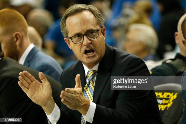 Head coach Murry Bartow of the UCLA Bruins talks to the UCLA Bruins ahead of a game against the Utah Utes at Pauley Pavilion on February 09 2019 in...