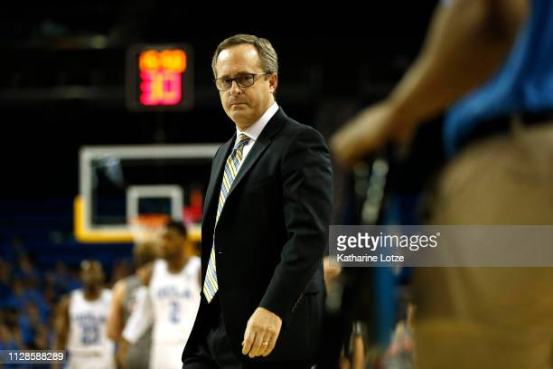 Head coach Murry Bartow of the UCLA Bruins walks onto the court for a time out during a game against the Utah Utes at Pauley Pavilion on February 09...