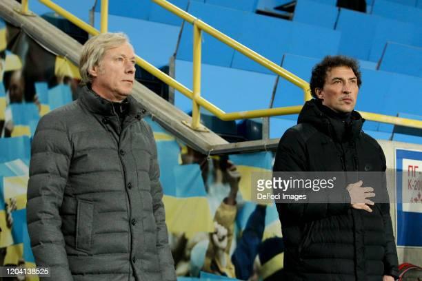 Head coach Mykhaylychenko Oleksiy of FC Dynamo Kyiv and head coach Dmitriy Mikhaylenko of SC Dnipro1 look on during the Premjer Liha match between SC...