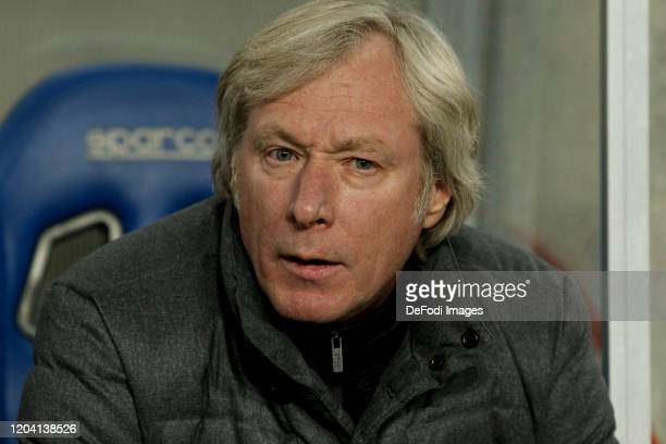 Head coach Mykhaylychenko Oleksiy of FC Dynamo Kyiv looks on during the Premjer Liha match between SC Dnepr1 and Dynamo Kiev at Dnipro Arena on...