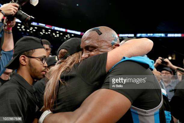 Head coach Nancy Lieberman of Power celebrates with Cuttino Mobley after defeating 3's Company during the BIG3 Championship at the Barclays Center on...