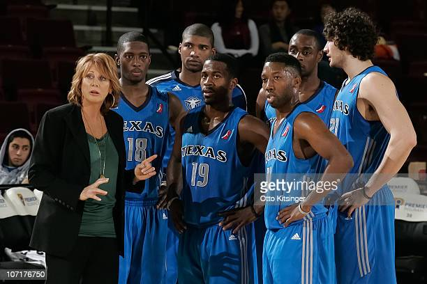 Head Coach Nancy Lieberman of the Texas Legends talks to her players during a time out against the Idaho Stampede at Qwest Arena on November 27 2010...