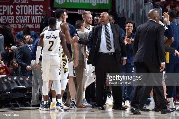 Head Coach Nate McMillan of the Indiana Pacers reacts after the game against the Cleveland Cavaliers on November 1 2017 at Quicken Loans Arena in...