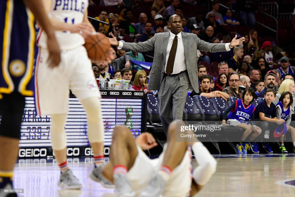 Head coach Nate McMillan of the Indiana Pacers reacts against the Philadelphia 76ers during the first quarter at the Wells Fargo Center on April 10, 2017 in Philadelphia, Pennsylvania.