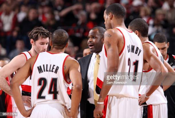 Head coach Nate McMillan of the Portland Trail Blazers talks to his team during the game against the Utah Jazz on February 21 2010 at the Rose Garden...