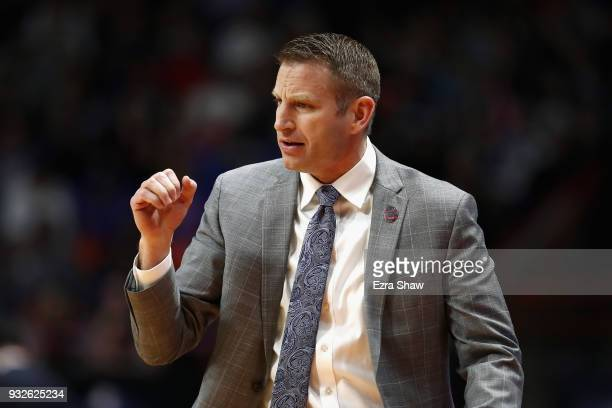 Head coach Nate Oats of the Buffalo Bulls reacts against the Arizona Wildcats during the first round of the 2018 NCAA Men's Basketball Tournament at...