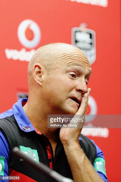 Head Coach Nathan Brown of the Knights talks to the media after the round one NRL match between the New Zealand Warriors and the Newcastle Knights at...
