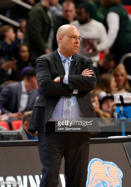Head Coach Nathan Davis of the Bucknell Bison during the NCAA Division I Men's Basketball Championship First Round game between the Michigan State...