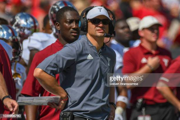 Head coach Neal Brown of the Troy Trojans watches action against the Nebraska Cornhuskers at Memorial Stadium on September 15 2018 in Lincoln Nebraska