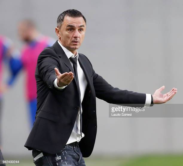 Head coach Nebojsa Vignjevic of Ujpest FC reacts during the Hungarian Cup Quarter Final 2nd Leg match between MTK Budapest and Ujpest FC at Nandor...