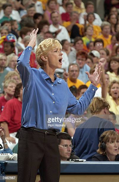 Head coach Nell Fortner of the Indiana Fever yells during the game against the Cleveland Rockers at Conseco Fieldhouse on August 23 2003 in...