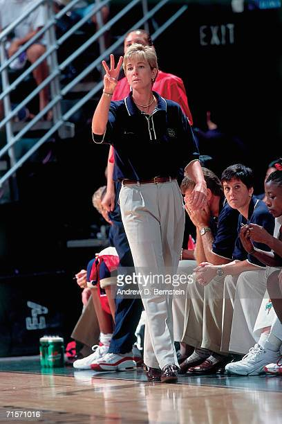 Head coach Nell Fortner of the United States Women's National Team shouts instructions from the sidelines against the Brazilian Women's National Team...