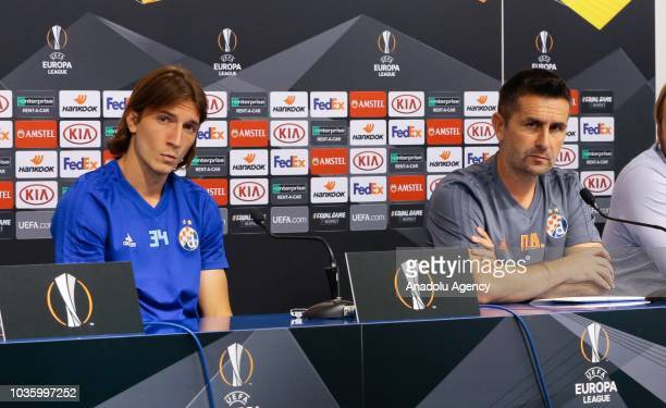 Head coach Nenad Bjelica of Dinamo Zagreb and team's player Ivan Sunjic hold a press conference ahead of UEFA Europa League Group D match against...