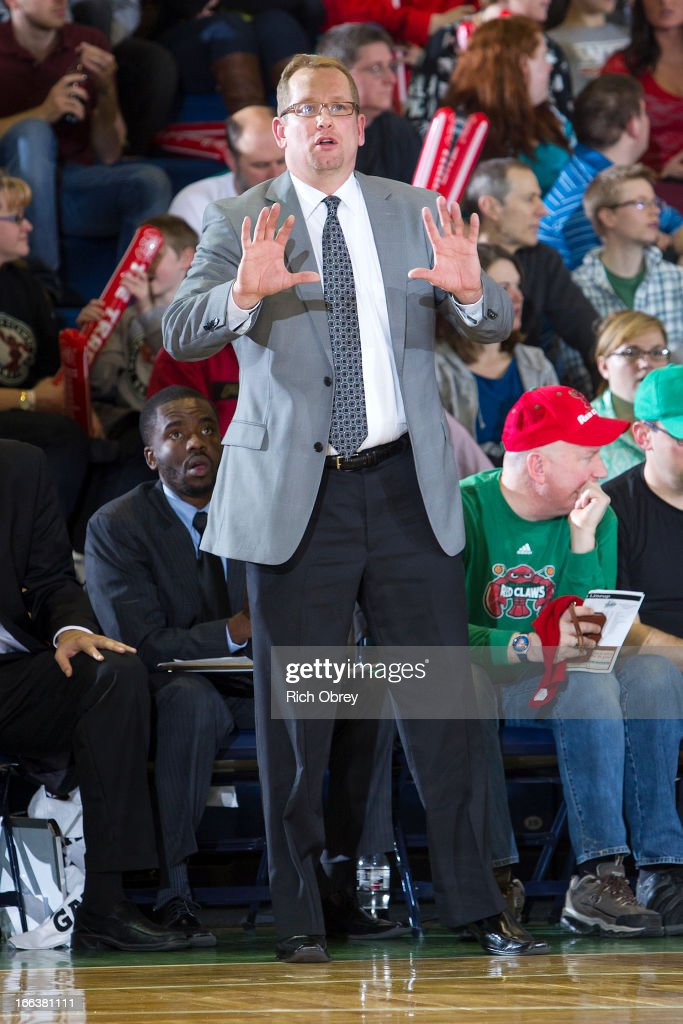 Head Coach, Nick Nurse, of the Rio Grande Valley Vipers calls a play against the Maine Red Claws during the NBA D-League playoff game on Thursday, April 11, 2013 at the Portland Expo in Portland, Maine.