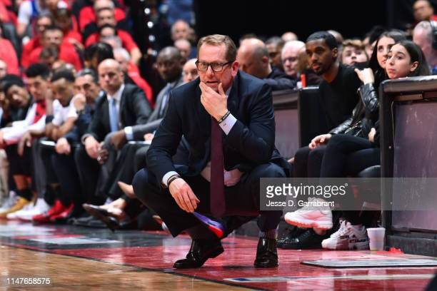 Head Coach Nick Nurse of the Toronto Raptors looks on during Game Two of the NBA Finals against the Golden State Warriors on June 2 2019 at...