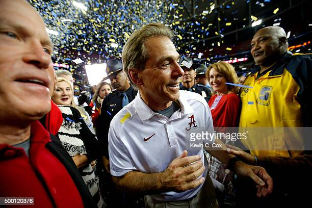 Head coach Nick Saban of the Alabama Crimson Tide after defeating the Florida Gators 2915 in the SEC Championship game at the Georgia Dome on...