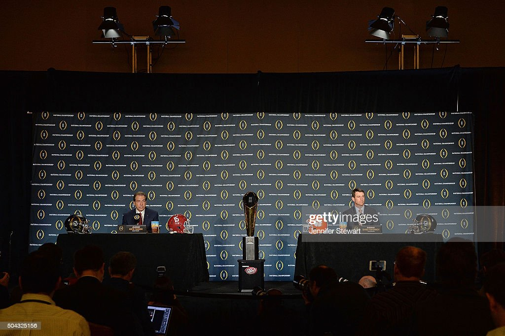 Head coach Nick Saban of the Alabama Crimson Tide (L) and head coach Dabo Swinney of the Clemson Tigers address the media during the Head Coach Press Conference for the College Football Playoff National Championship at JW Marriott Scottsdale Camelback Inn on January 10, 2016 in Scottsdale, Arizona.