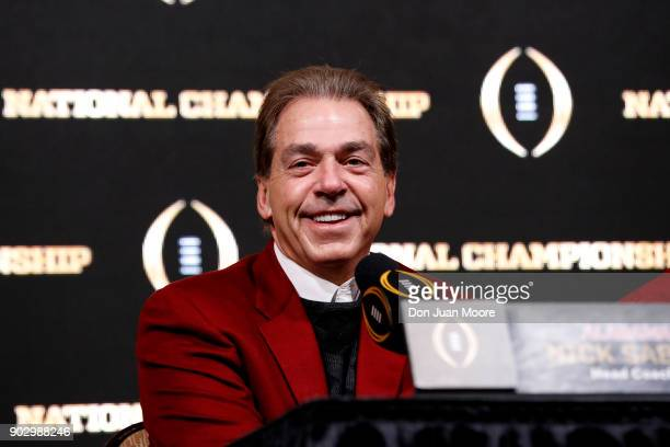 Head Coach Nick Saban of the Alabama Crimson Tide answer questions from the media during the College Football Playoff Champions News Conference after...