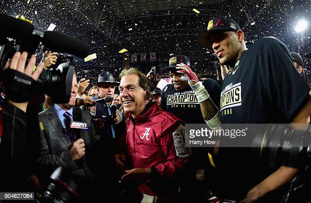 Head coach Nick Saban of the Alabama Crimson Tide celebrates after defeating the Clemson Tigers in the 2016 College Football Playoff National...