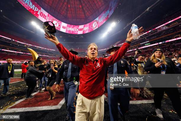 Head coach Nick Saban of the Alabama Crimson Tide celebrates beating the Georgia Bulldogs in overtime to win the CFP National Championship presented...