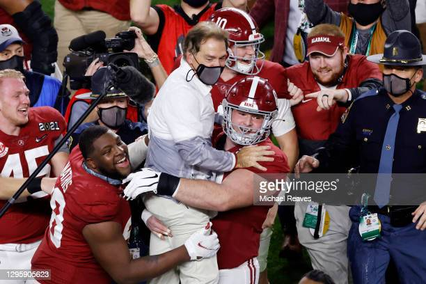 Head coach Nick Saban of the Alabama Crimson Tide celebrates defeating the Ohio State Buckeyes in the College Football Playoff National Championship...