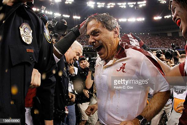 Head coach Nick Saban of the Alabama Crimson Tide is doused with Gatorade after defeating the Louisiana State University Tigers in the 2012 Allstate...