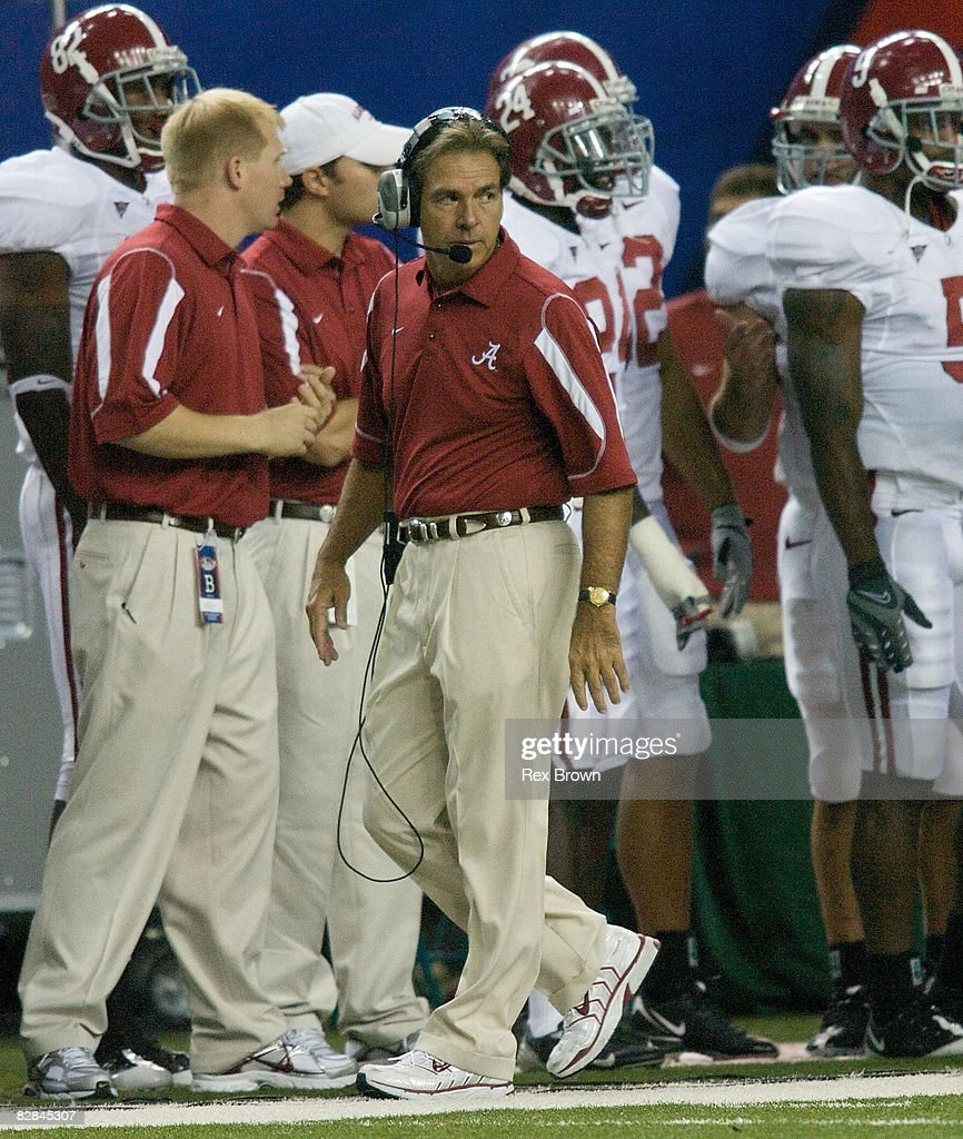 Head coach Nick Saban of the Alabama Crimson Tide looks on during the first half against the Clemson Tigers at the Georgia Dome on August 30, 2008 in Atlanta, Georgia.