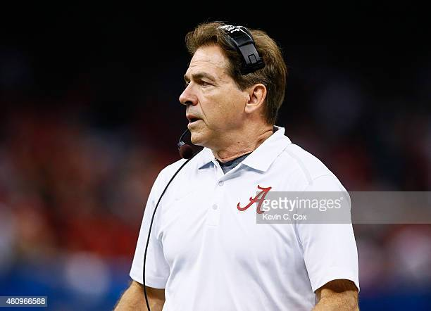 Head coach Nick Saban of the Alabama Crimson Tide looks on in the first half against the Ohio State Buckeyes during the All State Sugar Bowl at the...