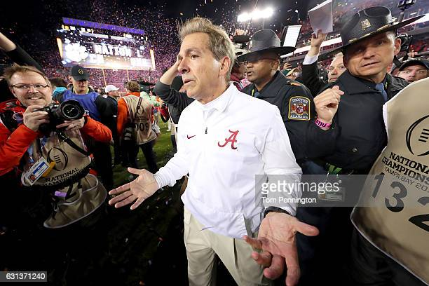 Head coach Nick Saban of the Alabama Crimson Tide reacts after the Clemson Tigers defeated the Alabama Crimson Tide 3531 in the 2017 College Football...