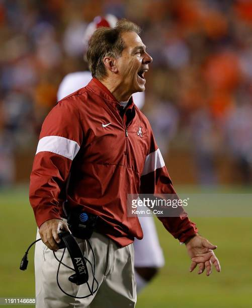 Head coach Nick Saban of the Alabama Crimson Tide reacts during the game against the Auburn Tigers at Jordan Hare Stadium on November 30, 2019 in...