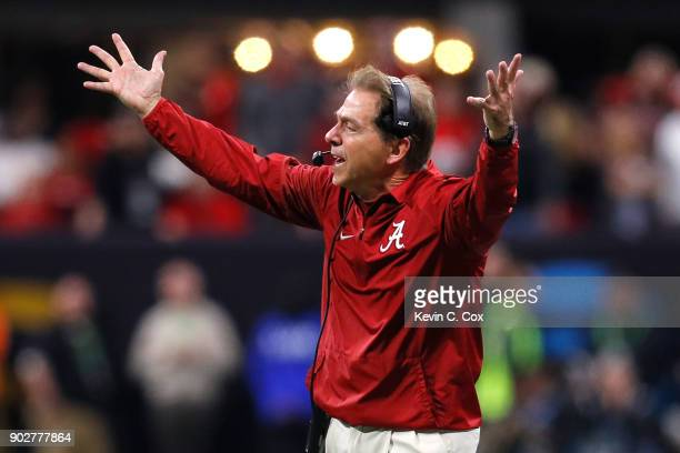 Head coach Nick Saban of the Alabama Crimson Tide reacts to a play during the second half against the Georgia Bulldogs in the CFP National...